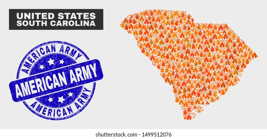 Vector composition of flame South Carolina State map and blue round textured American Army stamp. Fiery South Carolina State map mosaic of wildfire items. Vector composition for emergency services,