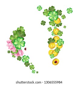 Vector composition of flowers and leaves of clover with gold coins. Isolated objects. Transparent background.