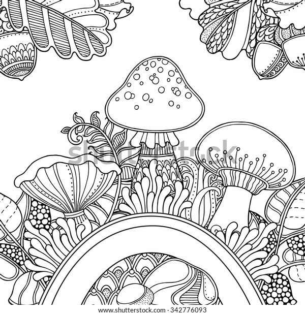 vector position grass mushrooms doodle 600w