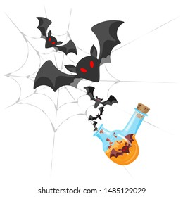 Vector composition for Halloween holiday.  Flask with a potion from which bats fly out against a background of a web. Transparent background