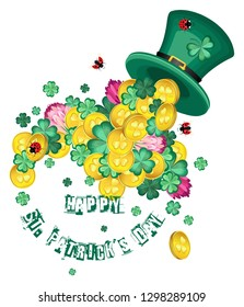 Vector composition with a hat of Leprechaun and clovers interspersed with golden coins for the holiday of St. Patrick's Day. With the text of congratulations. Transparent background