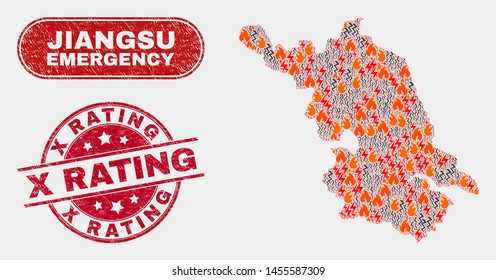 Vector composition of hazard Jiangsu Province map and red rounded distress X Rating seal stamp. Emergency Jiangsu Province map mosaic of flame, energy hazard elements.