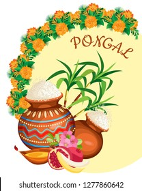 Vector composition for the holiday of Pongal. Rice pots with fruit and cane in the background on a pastel yellow circle surrounded by marigold bouquets. On a transparent background