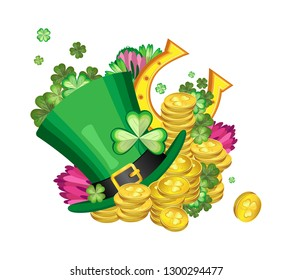 Vector composition with a Leprechaun hat, clover leaves and flowers with splashes of gold coins and a horseshoe in the background for the celebration of St. Patrick's Day. Transparent background