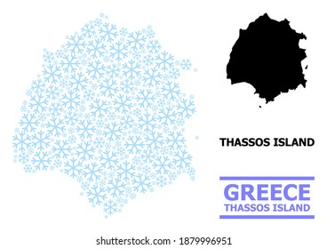 Vector composition map of Thassos Island designed for New Year, Christmas celebration, and winter. Mosaic map of Thassos Island is formed from light blue snow.