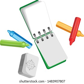 Vector composition of a notebook on a spring and colored crayons with an eraser. Isolated objects on a transparent background.