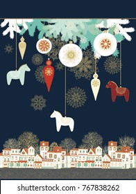 Vector composition with old houses and Christmas decoration, baubles with red scandinavian dala horses  on dark blue background