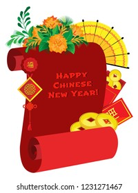 Vector composition on a transparent background. Red scroll with coins, amulet, fan and festive envelopes. Translation of hieroglyphs of happiness and well-being