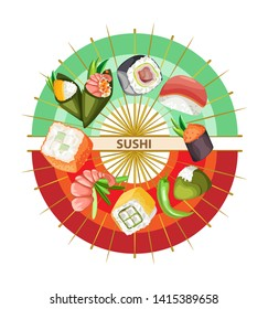 Vector composition on a transparent background. Sushi on color fans.