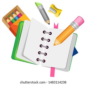 Vector composition of pencils, sharpeners and an album on a spring. Isolated objects on a transparent background.