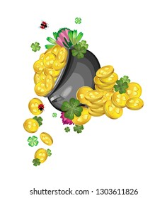 Vector composition. A pot of gold coins, clover leaves and flowers with stacks of gold coins with flowers and quatrefoils in the background to celebrate St. Patrick's Day. Transparent background