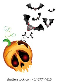 Vector composition of a pumpkin skull and bats pouring out of it for the holiday of Halloween. Transparent background