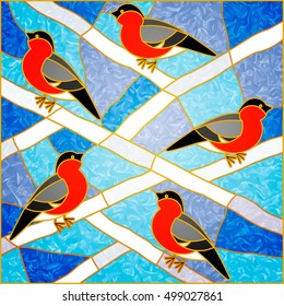 Vector composition of Red bullfinches on a snowy white branches. Winter birds. For ArchiCAD, interiors. Leaded pane. Tiffany stained Glass.