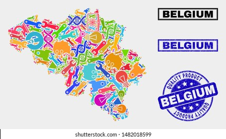 Vector composition of service Belgium map and blue seal for quality product. Belgium map collage constructed with equipment, spanners, industry icons.