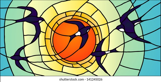 Vector composition of swallows in the sky in the rays of the sun / Stained glass window