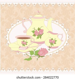 Vector composition teapot, Cup and milk jug in a lace frame. All items are isolated.