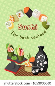 Vector composition of various sushi and rolls, as well as racks with a tarpaulin, a jug with a cup for sake and rolls on a bamboo mat. On a pastel green background with a braid.