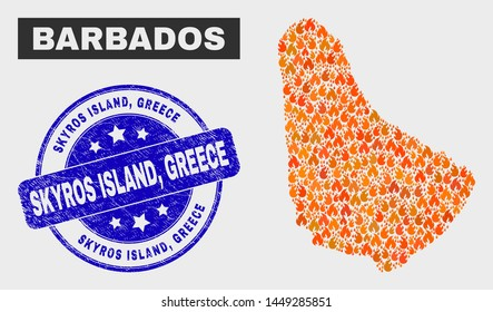 Vector composition of wildfire Barbados map and blue rounded textured Skyros Island, Greece seal. Fiery Barbados map mosaic of flame symbols. Vector collage for fire protection services,