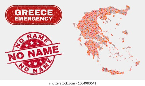 Vector composition of wildfire Greece map and red round scratched No Name watermark. Emergency Greece map mosaic of flame, power hazard elements. Vector combination for emergency services,