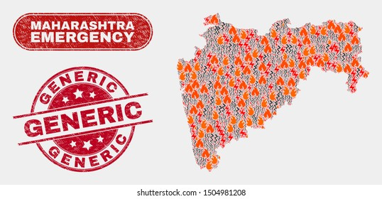 Vector composition of wildfire Maharashtra State map and red round distress Generic seal. Emergency Maharashtra State map mosaic of wildfire, electric hazard symbols.