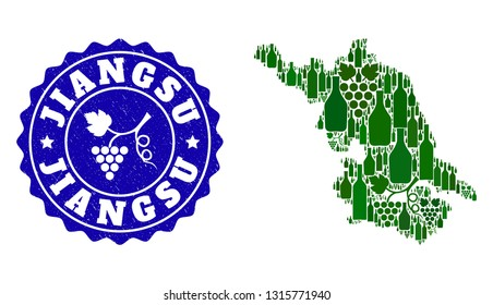 Vector composition of wine Map of Jiangsu Province and grape grunge stamp. Map of Jiangsu Province collage formed with bottles and grape berries bunches.