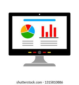 vector computer charts icon isolated. technology data analysis. communication icon