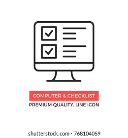 Vector computer and checklist icon. Online survey, application form with check marks, tasks list. Premium quality graphic design. Modern sign, linear pictogram, outline symbol, simple thin line icon