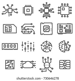 Vector Computer Chips icons set. Electronics symbols