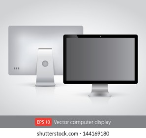 Vector computer display isolated on white