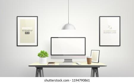 Vector Computer Display and office elements objects on desk table - workspace mockup template. Editable Mockup set of creative workspace background with front view comuter desktop and frame on wall