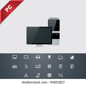 Vector computer hardware and peripherals icon set