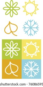 Vector Computer Illustration of Color Four Season Symbols.Spring Flower.Summer Sun.Autumn Leaf.Winter Snow Flake.Set of Four Seasons Icons Isolated on White Background.