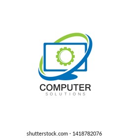 Vector computer and laptop repair logo template icon illustration design