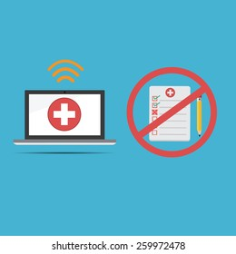 Vector of computer medical record .new technology for health care records and do not use old paper report