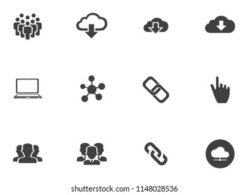 vector computer network icons - networking technology illustrations - communication icons