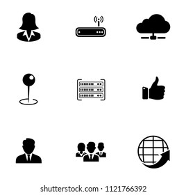 Vector computer networking icons set - computer internet technology web data. global communication icons