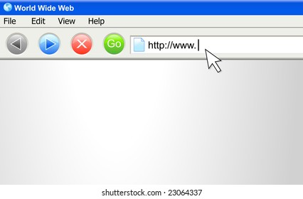 A vector computer screen image of an internet URL address being typed.