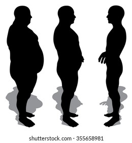 Vector concept 3D fat overweight vs slim fit diet with muscles young man silhouette isolated on white background  for weight loss, body, fitness, fatness, obesity, health, healthy, male, dieting shape