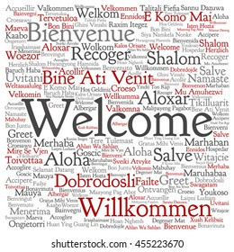 Vector concept abstract square welcome or greeting international word cloud in different languages or multilingual isolated metaphor to world, foreign, worldwide, travel, translate, vacation tourism