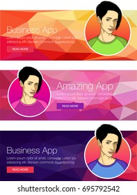Vector concept for app template - smartphone, social media, mobile phone. Banner or header of vector mobile tablet app. Ads banner presentation with face of woman. Cartoon character for banner