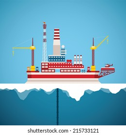 Vector concept of arctic oil and gas offshore industry with stationary platform