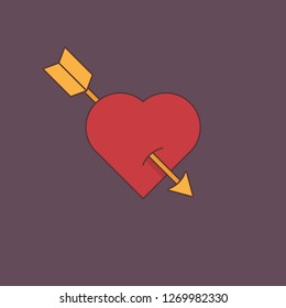 Vector concept the arrow hurts the heart background. Heart icon with arrow creative idea. Valentines day love symbol design.