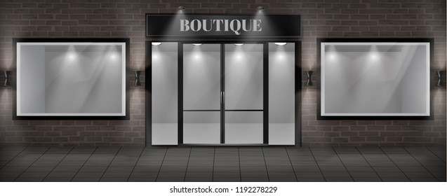 Vector concept background, boutique shop facade with signboard. Storefront with brick wall, entrance with large glass door and empty illuminated showcases. Template of building exterior