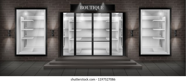 Vector concept background, boutique shop facade with signboard. Storefront with brick wall, entrance with large glass door and empty illuminated showcases with white shelves, realistic illustration
