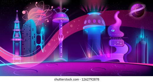 Vector concept background with futuristic city, alien civilization or colony in space. Fantasy cityscape in neon colors, panorama with fancy buildings, purple night sky with planets and stars