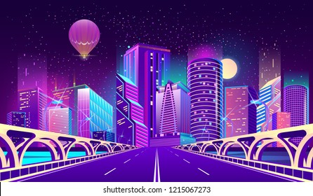 Vector concept background with night city illuminated with neon glowing lights. Futuristic cityscape in blue and violet colors, panorama with modern buildings and skyscrapers, bridge with highway