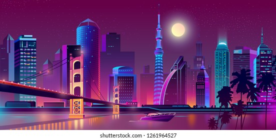 Vector concept background with night city illuminated with neon glowing lights. Cityscape in violet colors, panorama with modern buildings and skyscrapers, urban skyline with bridge, yacht on river