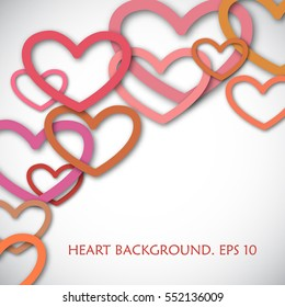 Vector concept of background for Valentines Day. Romantic illustration with falling hearts in flat style. Usable for card, poster, printing, wallpaper.
