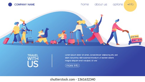 Vector concept banner with travelling people. Happy flat character with luggage, kids and bags. Landing page for vacation, buing avia tickets and travel agency