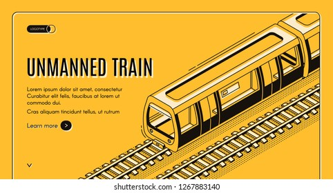 Vector concept banner with unmanned electric train on railway on yellow background. Automated transport, autonomous locomotive with autopilot for subway, future technology. Template for web page